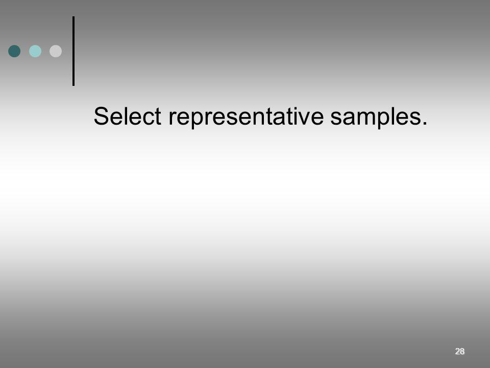 28 Select representative samples.