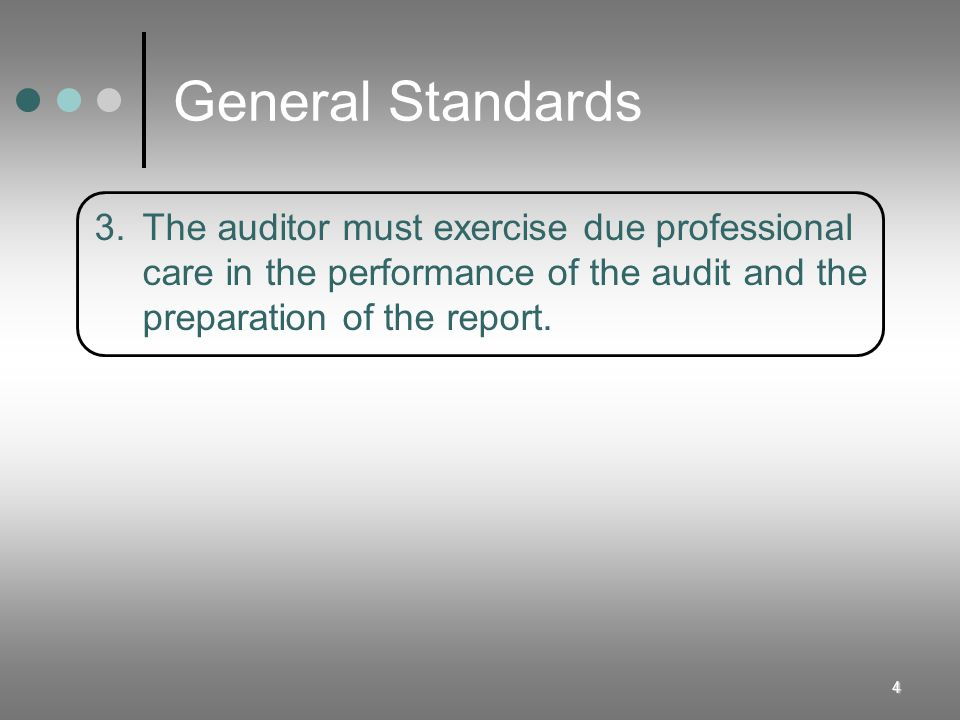 4 3.The auditor must exercise due professional care in the performance of the audit and the preparation of the report.
