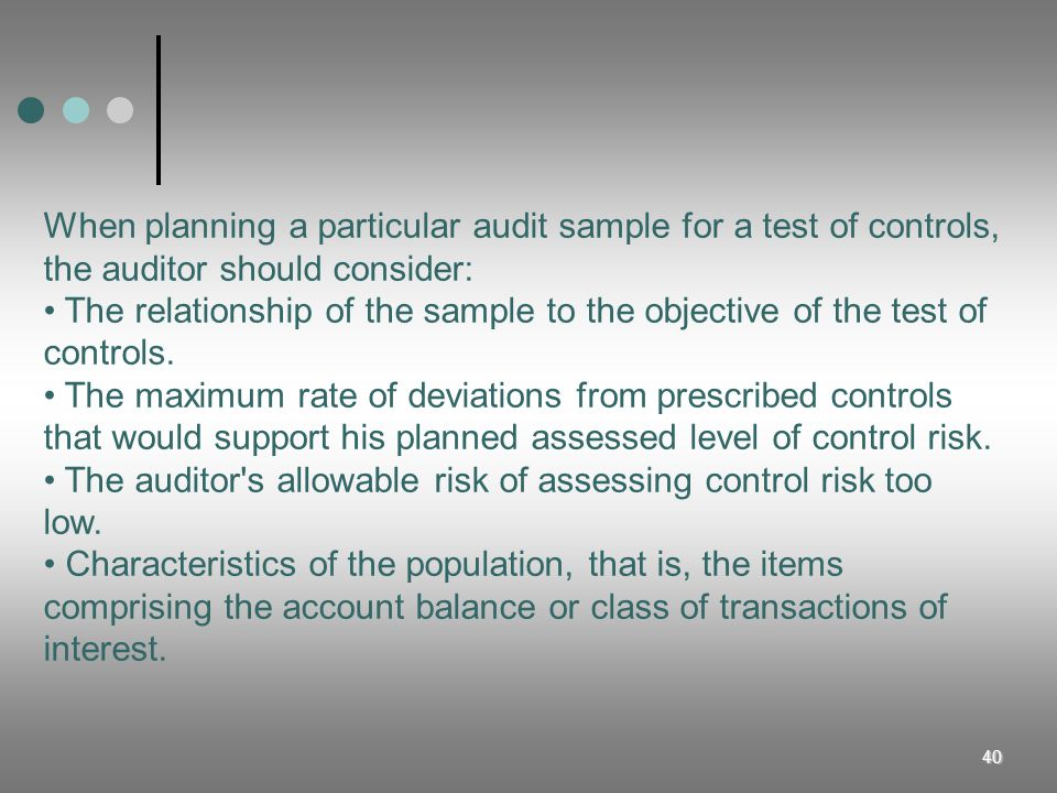 40 When planning a particular audit sample for a test of controls, the auditor should consider: The relationship of the sample to the objective of the