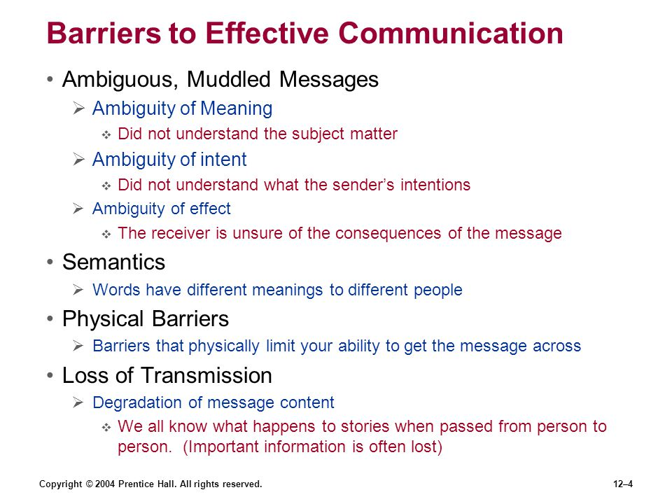 Copyright © 2004 Prentice Hall. All rights reserved.12–4 Barriers to Effective Communication Ambiguous, Muddled Messages  Ambiguity of Meaning  Did