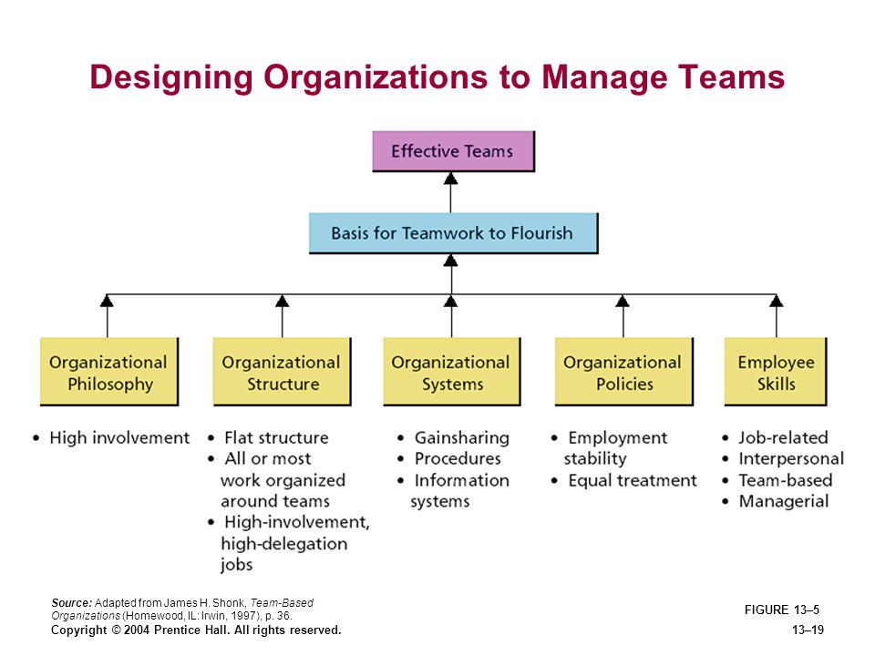 Copyright © 2004 Prentice Hall. All rights reserved.13–19 FIGURE 13–5 Designing Organizations to Manage Teams Source: Adapted from James H. Shonk, Tea