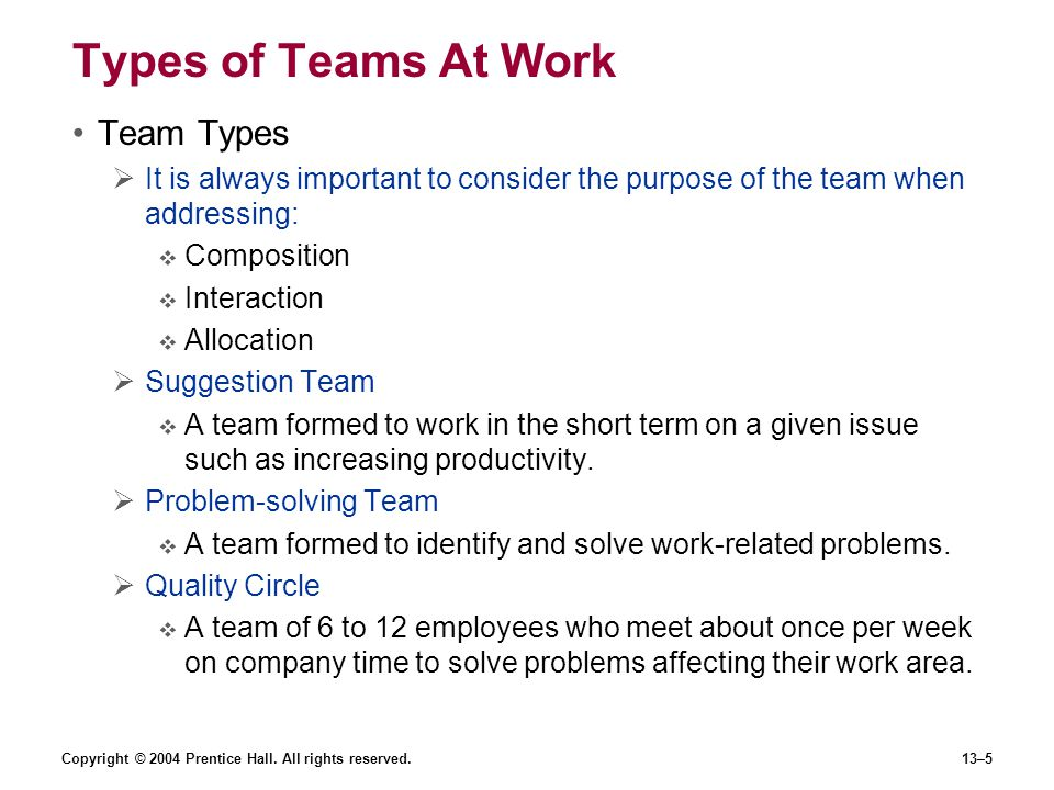Copyright © 2004 Prentice Hall. All rights reserved.13–5 Types of Teams At Work Team Types  It is always important to consider the purpose of the tea
