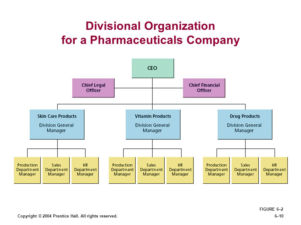 Copyright © 2004 Prentice Hall. All rights reserved.6–10 Divisional Organization for a Pharmaceuticals Company FIGURE 6–2