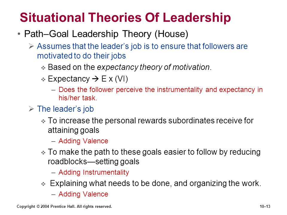 Copyright © 2004 Prentice Hall. All rights reserved.10–13 Situational Theories Of Leadership Path–Goal Leadership Theory (House)  Assumes that the le