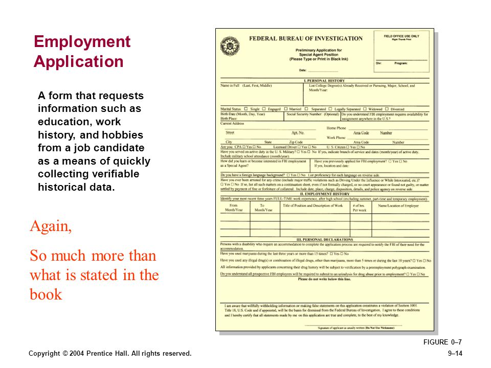 Copyright © 2004 Prentice Hall. All rights reserved.9–14 FIGURE 0–7 Employment Application A form that requests information such as education, work hi