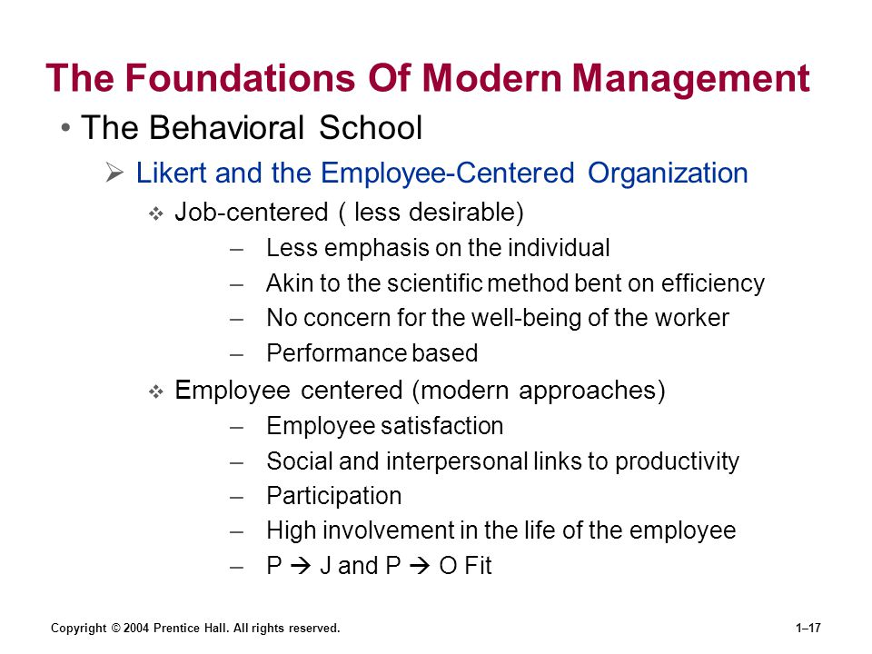Copyright © 2004 Prentice Hall. All rights reserved.1–17 The Foundations Of Modern Management The Behavioral School  Likert and the Employee-Centered