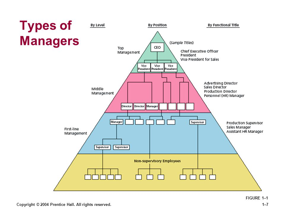 Copyright © 2004 Prentice Hall. All rights reserved.1–7 Types of Managers FIGURE 1–1
