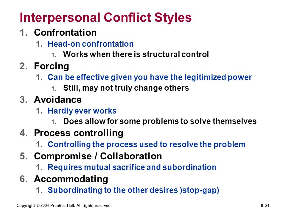 Copyright © 2004 Prentice Hall. All rights reserved.8–24 Interpersonal Conflict Styles 1.Confrontation 1.Head-on confrontation 1. Works when there is