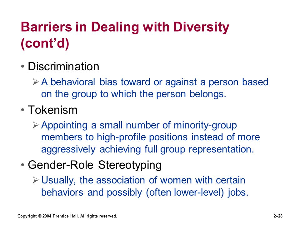 Copyright © 2004 Prentice Hall. All rights reserved.2–28 Barriers in Dealing with Diversity (cont'd) Discrimination  A behavioral bias toward or agai