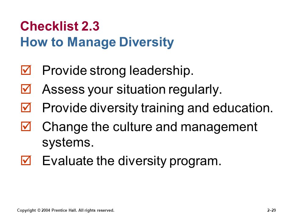 Copyright © 2004 Prentice Hall. All rights reserved.2–29 Checklist 2.3 How to Manage Diversity  Provide strong leadership.  Assess your situation re