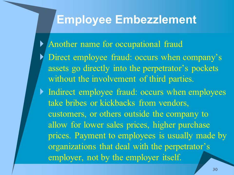 30 Employee Embezzlement  Another name for occupational fraud  Direct employee fraud: occurs when company's assets go directly into the perpetrator's pockets without the involvement of third parties.