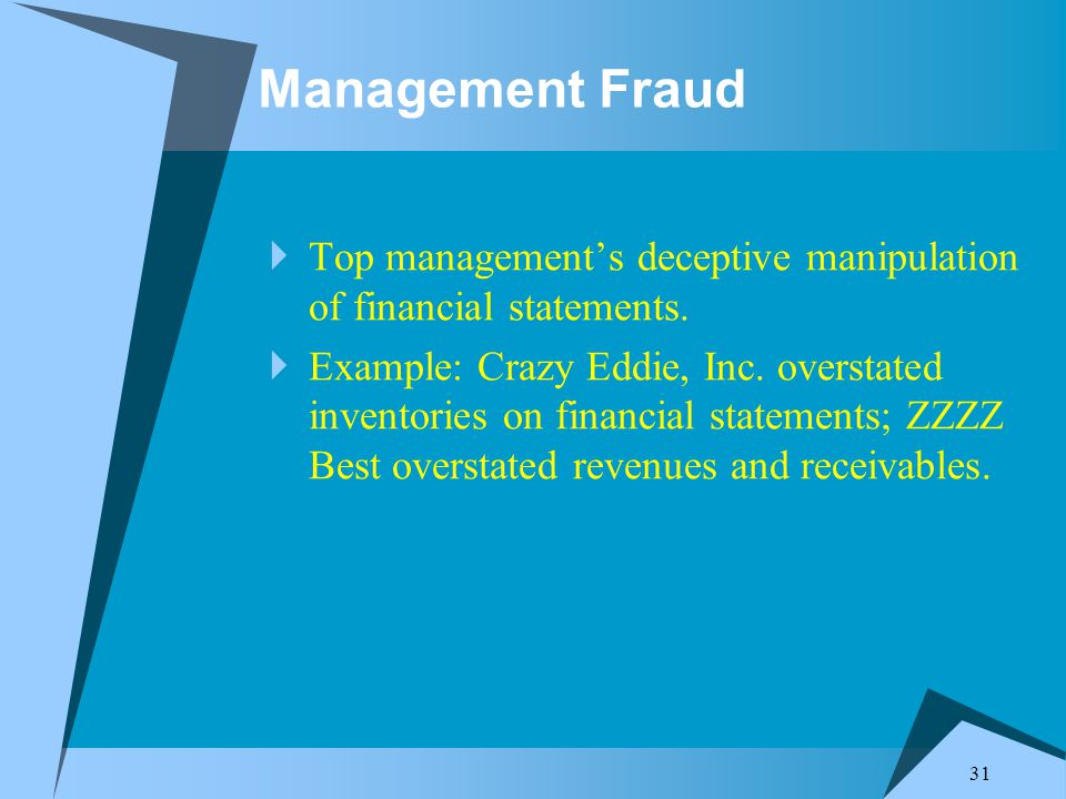 31 Management Fraud  Top management's deceptive manipulation of financial statements.