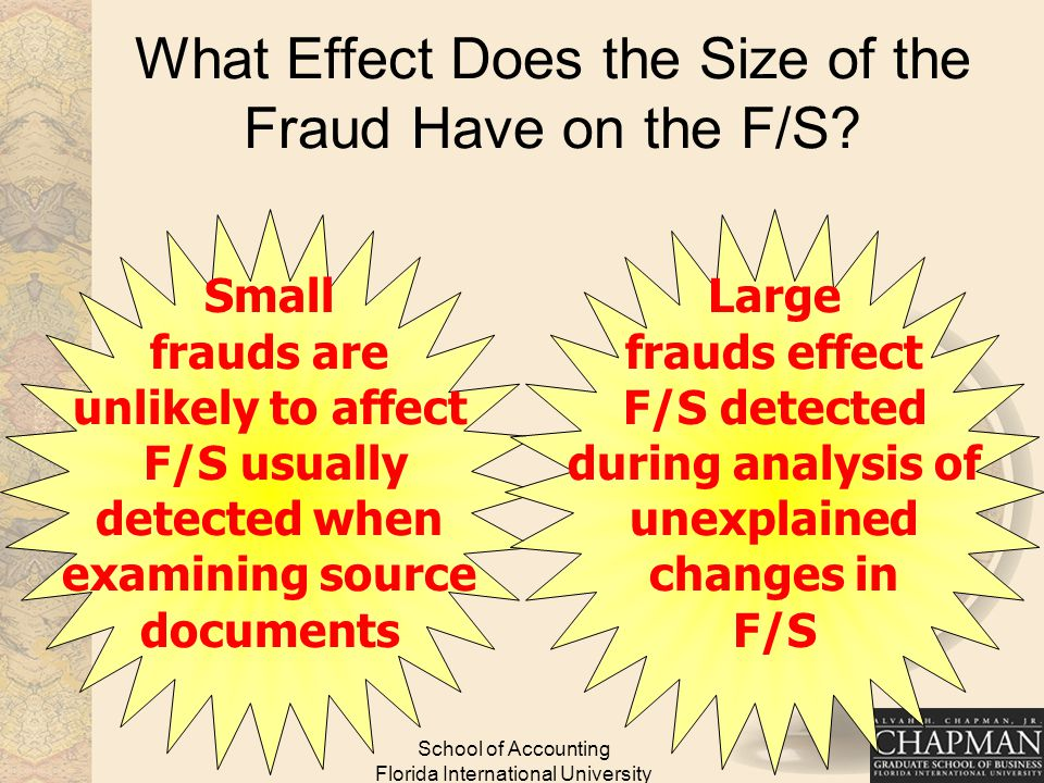 School of Accounting Florida International University What Effect Does the Size of the Fraud Have on the F/S.