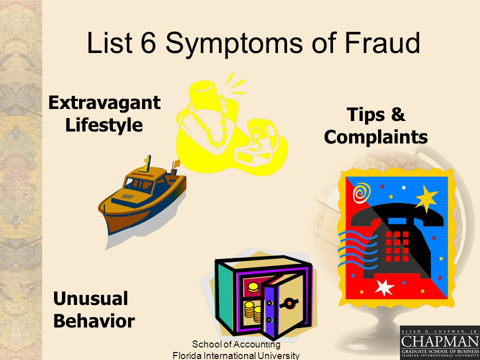 School of Accounting Florida International University List 6 Symptoms of Fraud Extravagant Lifestyle Unusual Behavior Tips & Complaints