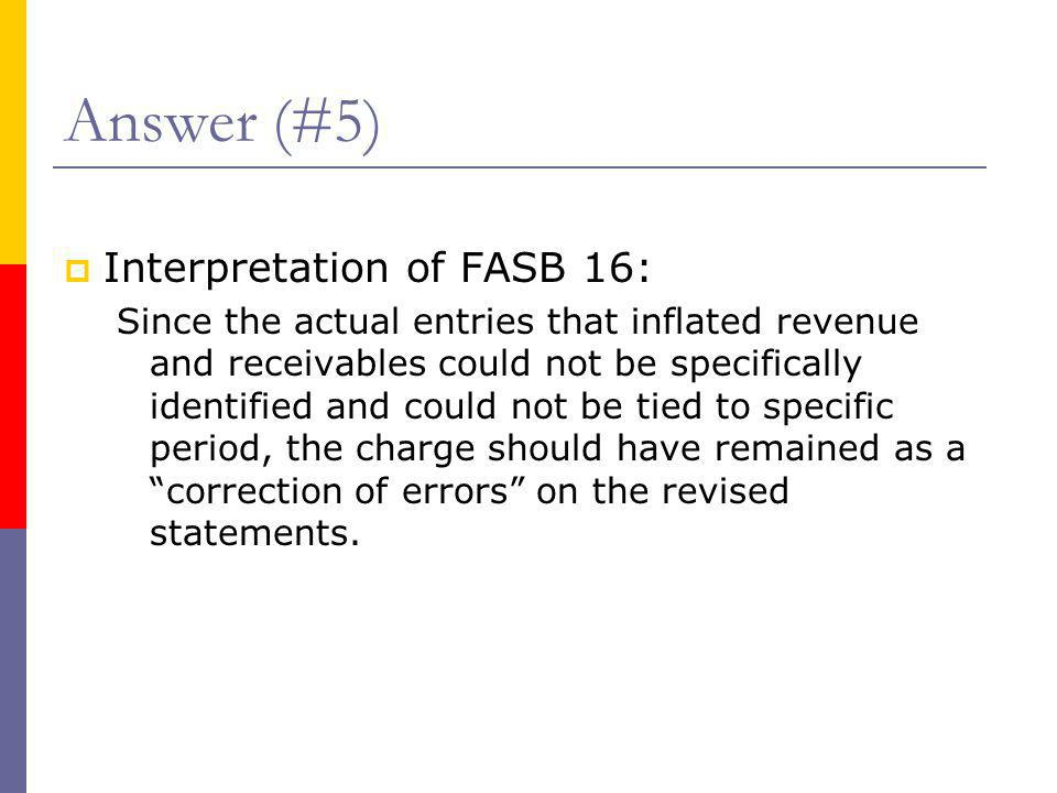  Interpretation of FASB 16: Since the actual entries that inflated revenue and receivables could not be specifically identified and could not be tied