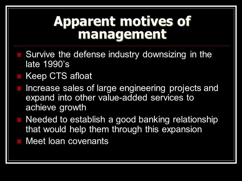 Apparent motives of management Survive the defense industry downsizing in the late 1990's Keep CTS afloat Increase sales of large engineering projects