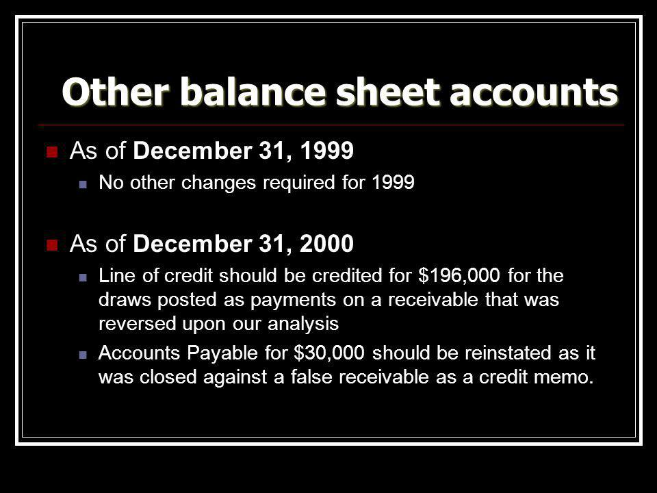 Other balance sheet accounts As of December 31, 1999 No other changes required for 1999 As of December 31, 2000 Line of credit should be credited for