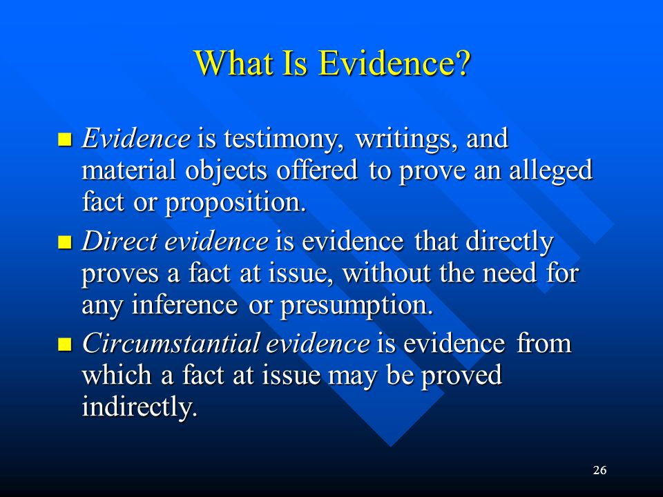 25 Rules of Evidence The rules of evidence are the rules governing the admissibility of evidence in a legal proceeding and the weight to be given to evidence that is admitted.