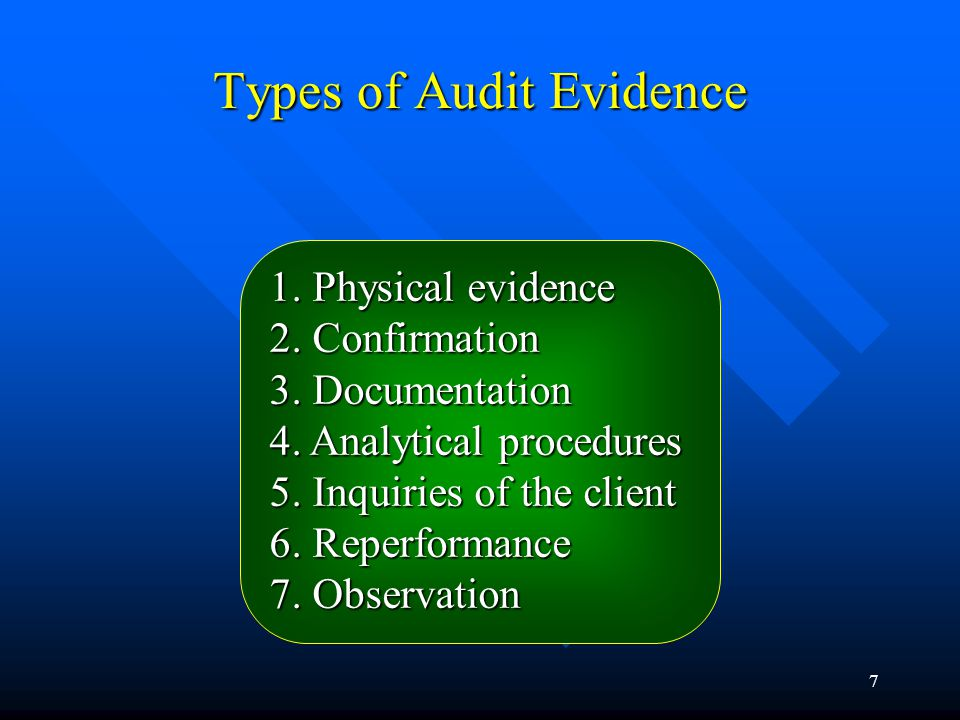 6 Accountants use ofEvidence in auditing in auditing