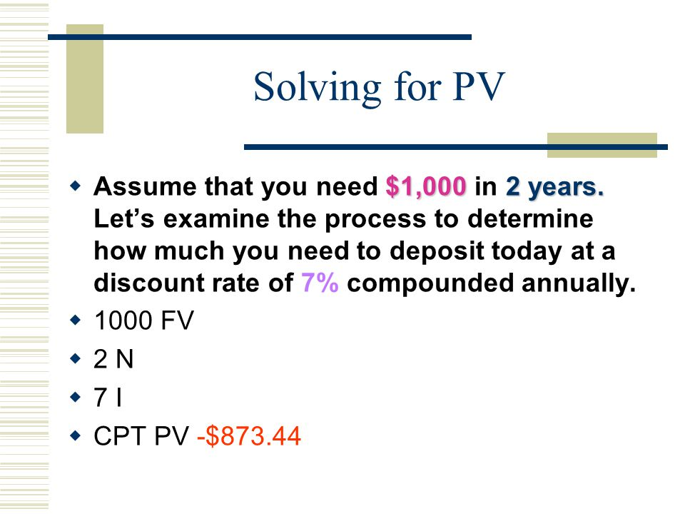Solving for PV $1,000 2 years.  Assume that you need $1,000 in 2 years.