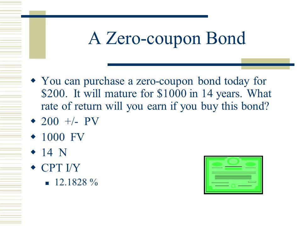 A Zero-coupon Bond  You can purchase a zero-coupon bond today for $200.