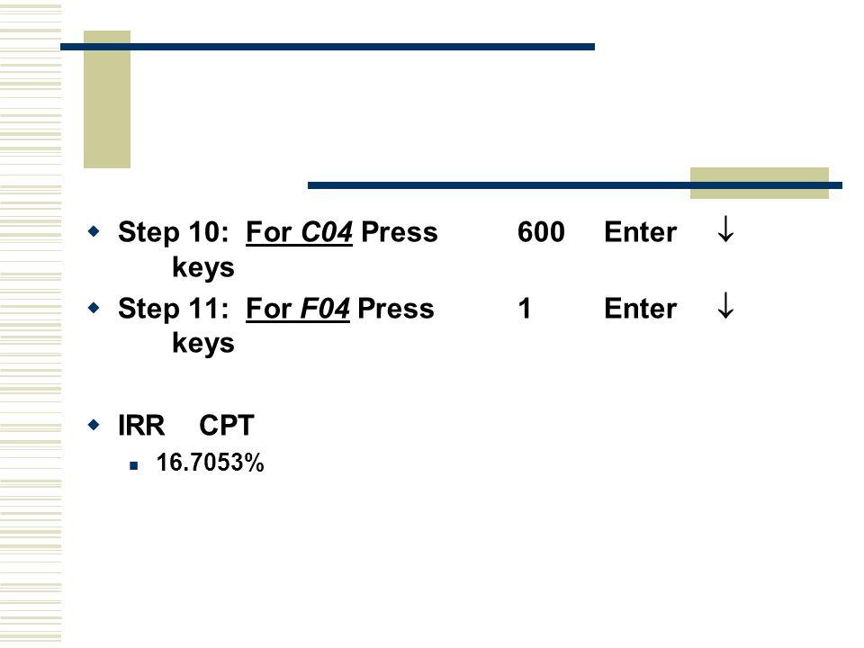  Step 10: For C04 Press600Enter  keys  Step 11: For F04 Press1Enter  keys  IRR CPT 16.7053%