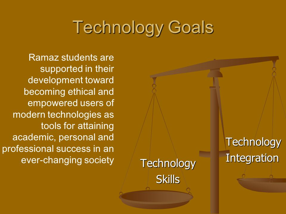 Technology Goals TechnologySkills Technology Integration Ramaz students are supported in their development toward becoming ethical and empowered users of modern technologies as tools for attaining academic, personal and professional success in an ever-changing society