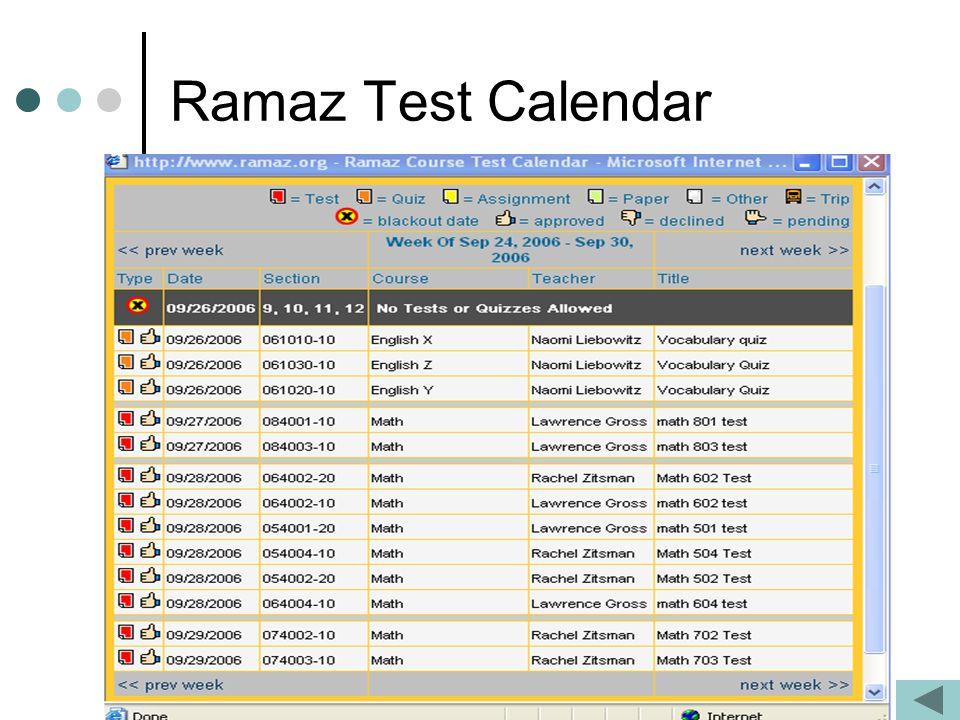 Ramaz Test Calendar