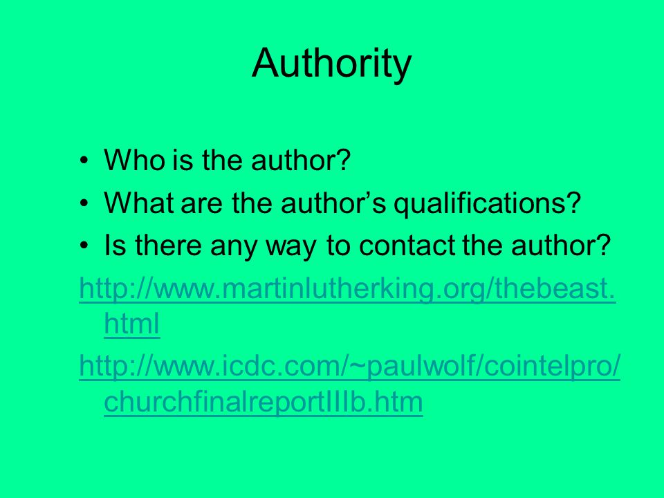 Evaluation Criteria Authority Content Currency