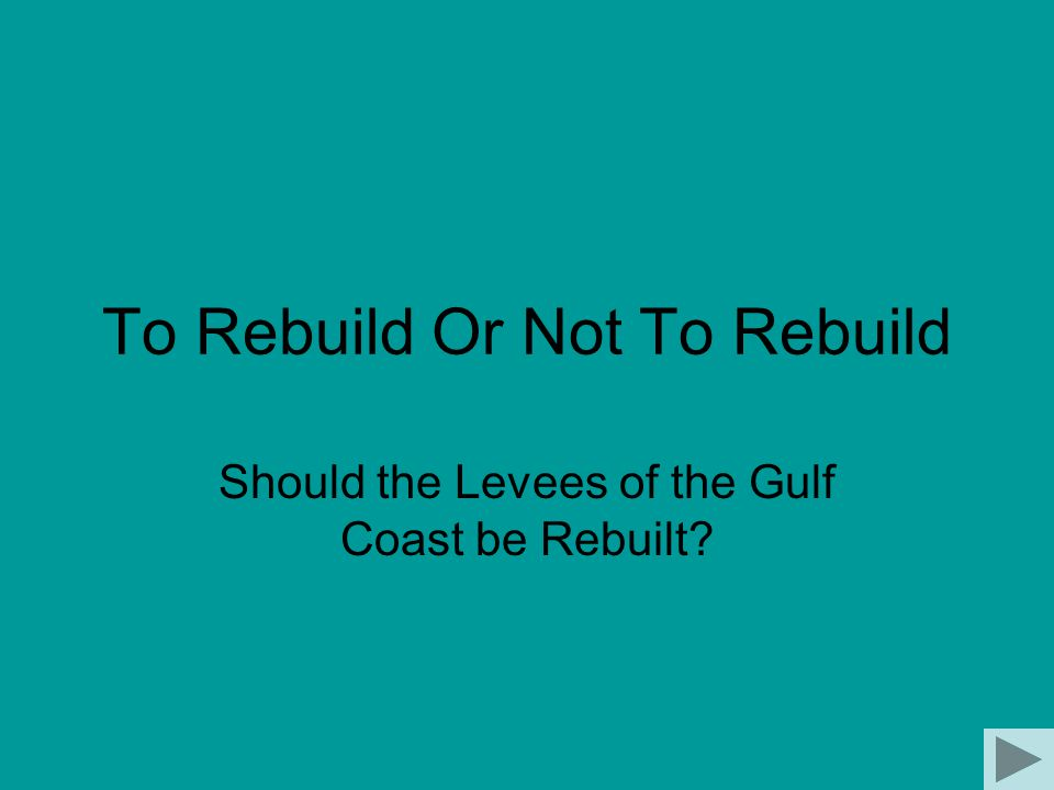 To Rebuild Or Not To Rebuild Should the Levees of the Gulf Coast be Rebuilt