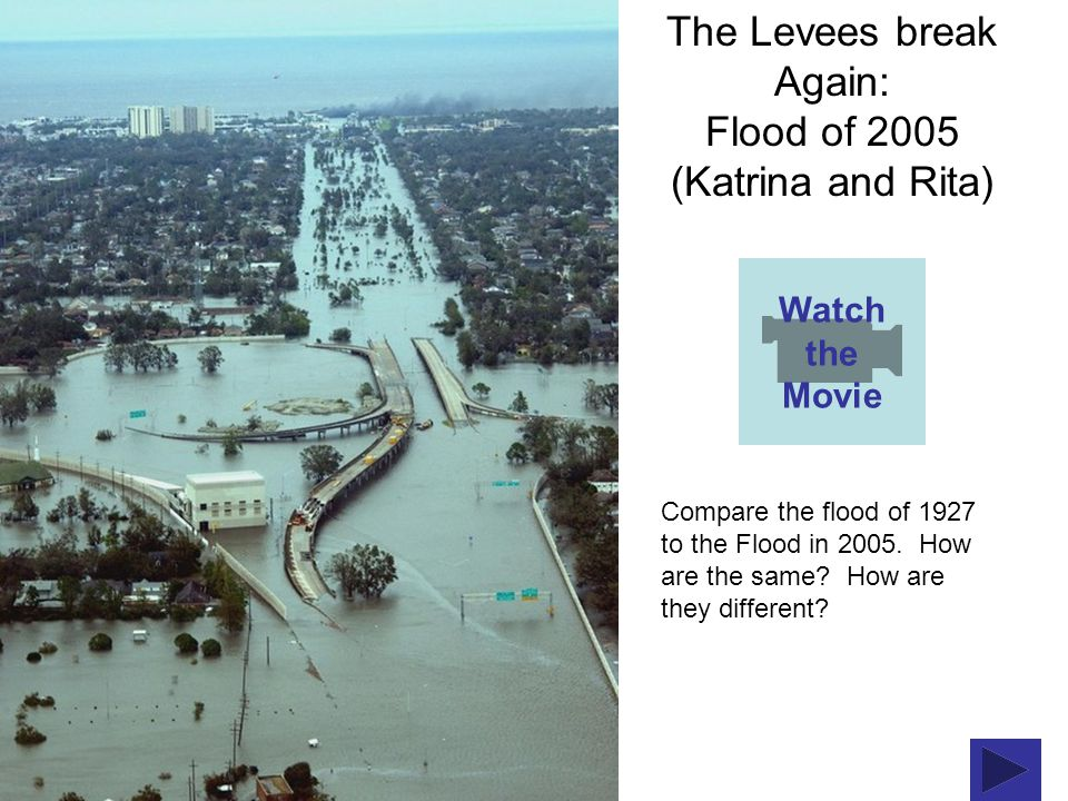 The Levees break Again: Flood of 2005 (Katrina and Rita) Watch the Movie Compare the flood of 1927 to the Flood in 2005.
