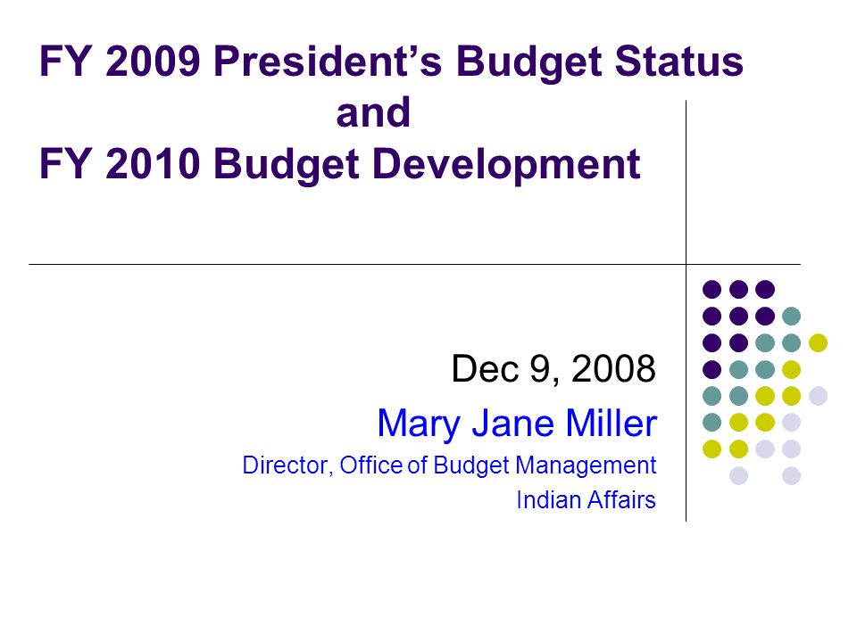 FY 2009 President's Budget Status and FY 2010 Budget Development Dec 9, 2008 Mary Jane Miller Director, Office of Budget Management Indian Affairs