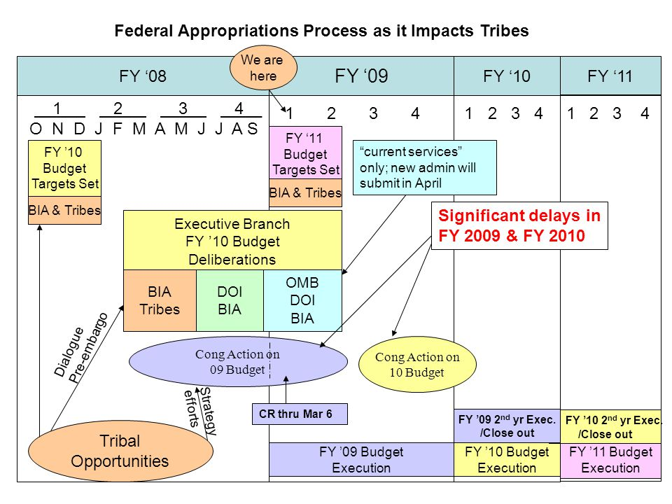 Federal Appropriations Process as it Impacts Tribes FY '08 FY '09 FY '10FY '11 1 2 3 4__ O N D J F M A M J J A S 1 2 3 4 We are here FY '10 Budget Targets Set BIA & Tribes Executive Branch FY '10 Budget Deliberations BIA Tribes DOI BIA OMB DOI BIA Tribal Opportunities Dialogue Pre-embargo Cong Action on 09 Budget FY '11 Budget Execution FY '10 Budget Execution FY '09 Budget Execution Cong Action on 10 Budget Strategy efforts FY '10 2 nd yr Exec.