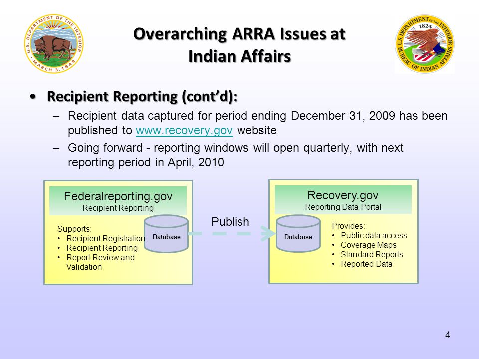 Overarching ARRA Issues at Indian Affairs Recipient Reporting (cont'd):Recipient Reporting (cont'd): –Recipient data captured for period ending December 31, 2009 has been published to www.recovery.gov websitewww.recovery.gov –Going forward - reporting windows will open quarterly, with next reporting period in April, 2010 Federalreporting.gov Recipient Reporting Database Supports: Recipient Registration Recipient Reporting Report Review and Validation Recovery.gov Reporting Data Portal Database Provides: Public data access Coverage Maps Standard Reports Reported Data Publish 4