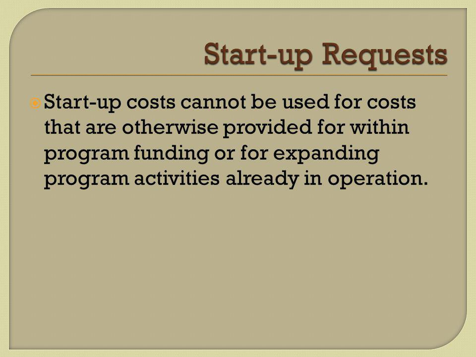  Start-up costs cannot be used for costs that are otherwise provided for within program funding or for expanding program activities already in operation.