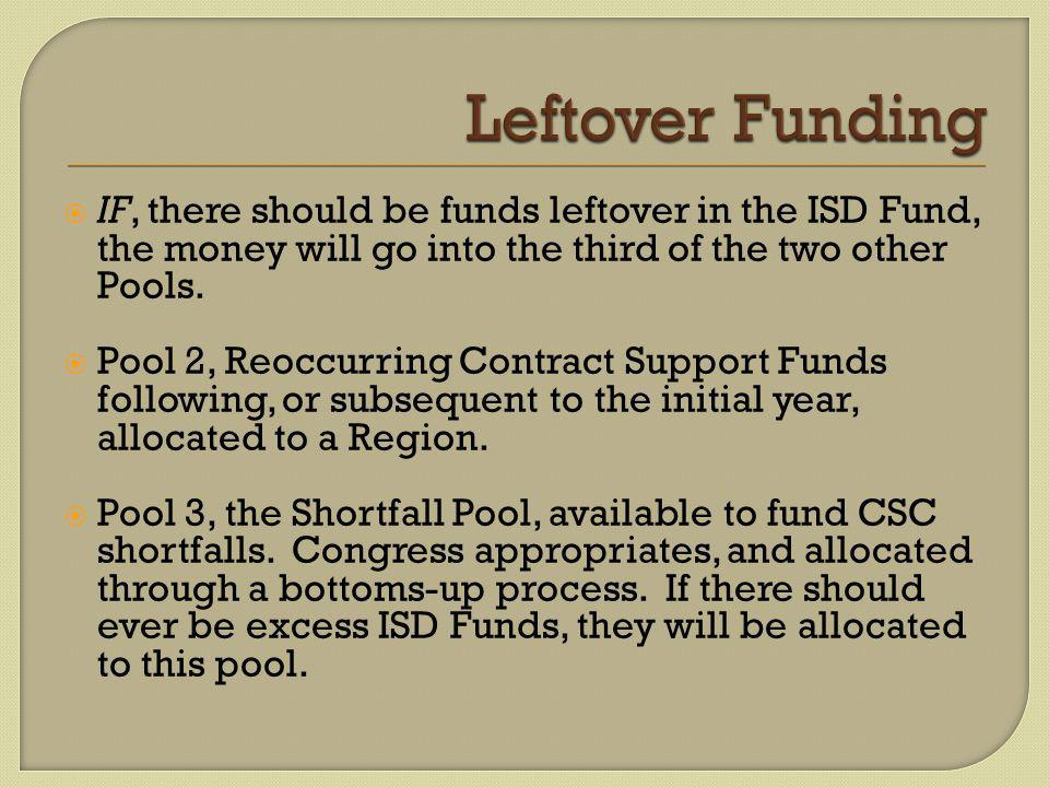 IF, there should be funds leftover in the ISD Fund, the money will go into the third of the two other Pools.