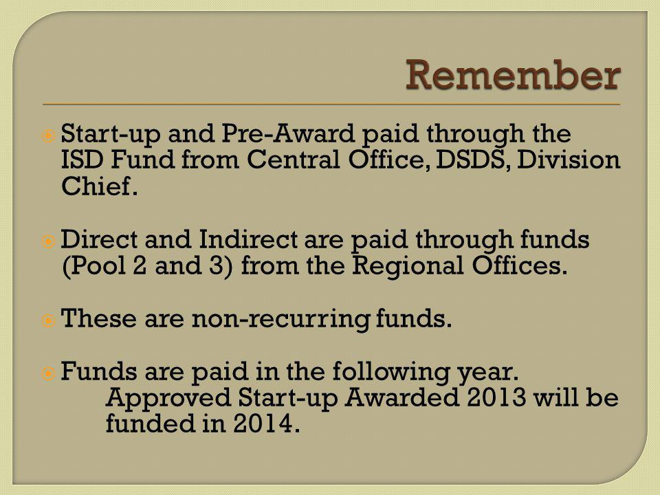  Start-up and Pre-Award paid through the ISD Fund from Central Office, DSDS, Division Chief.