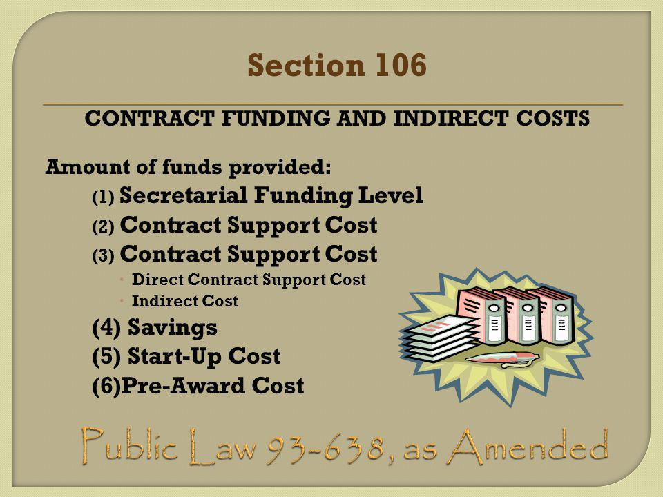 Section 106 CONTRACT FUNDING AND INDIRECT COSTS Amount of funds provided: (1) Secretarial Funding Level (2) Contract Support Cost (3) Contract Support Cost  Direct Contract Support Cost  Indirect Cost (4) Savings (5) Start-Up Cost (6)Pre-Award Cost