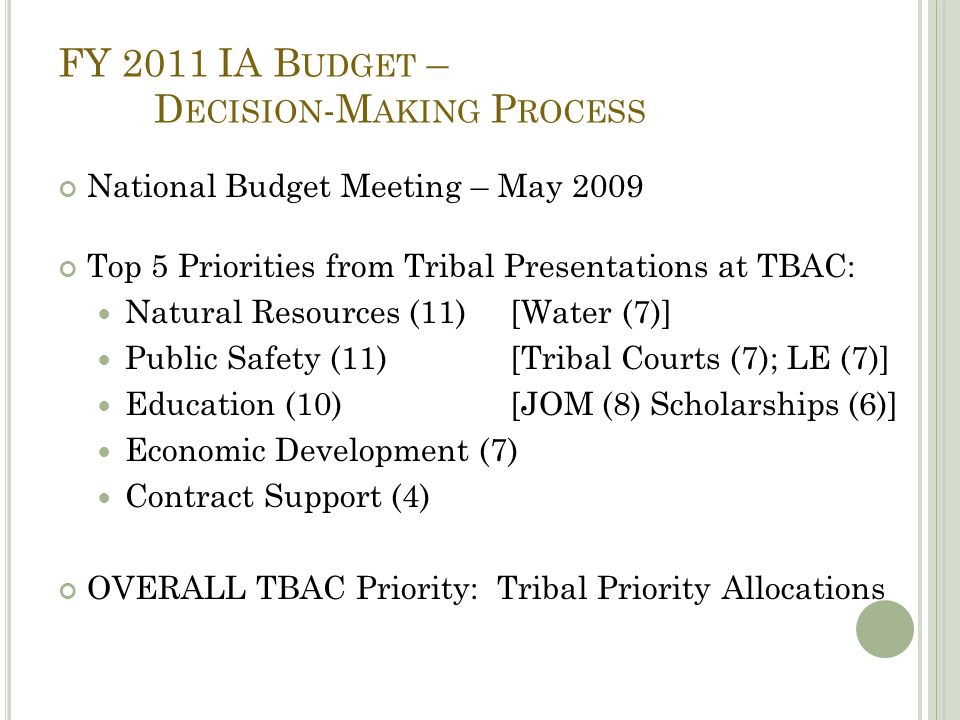FY 2011 IA B UDGET – D ECISION -M AKING P ROCESS National Budget Meeting – May 2009 Top 5 Priorities from Tribal Presentations at TBAC: Natural Resources (11) [Water (7)] Public Safety (11) [Tribal Courts (7); LE (7)] Education (10) [JOM (8) Scholarships (6)] Economic Development (7) Contract Support (4) OVERALL TBAC Priority: Tribal Priority Allocations