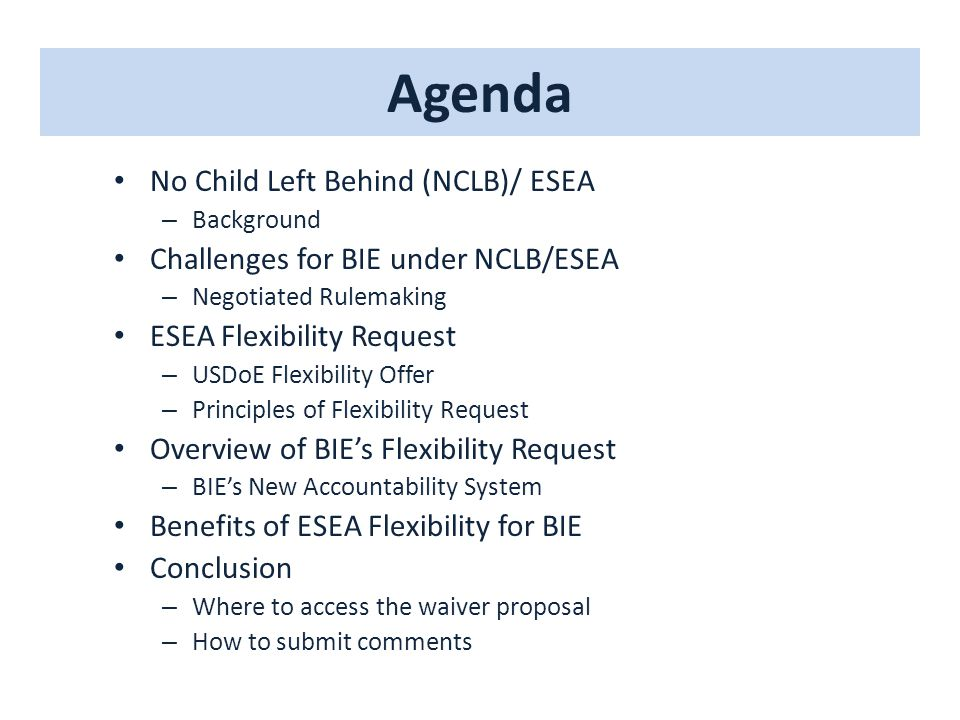 Agenda No Child Left Behind (NCLB)/ ESEA – Background Challenges for BIE under NCLB/ESEA – Negotiated Rulemaking ESEA Flexibility Request – USDoE Flex