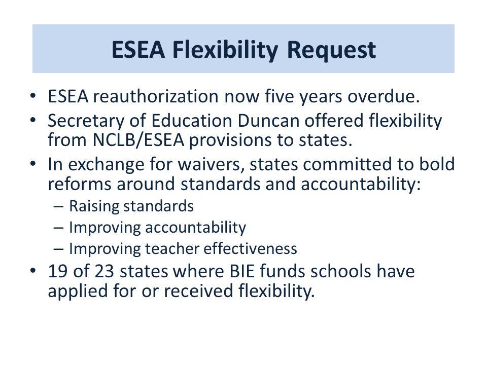 ESEA Flexibility Request ESEA reauthorization now five years overdue.