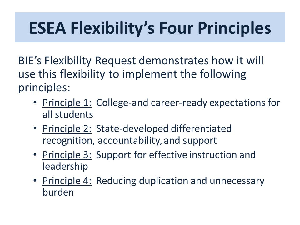ESEA Flexibility's Four Principles BIE's Flexibility Request demonstrates how it will use this flexibility to implement the following principles: Principle 1: College-and career-ready expectations for all students Principle 2: State-developed differentiated recognition, accountability, and support Principle 3: Support for effective instruction and leadership Principle 4: Reducing duplication and unnecessary burden