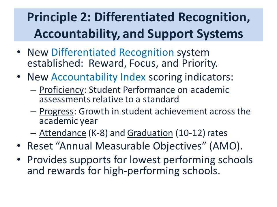 Principle 2: Differentiated Recognition, Accountability, and Support Systems New Differentiated Recognition system established: Reward, Focus, and Pri