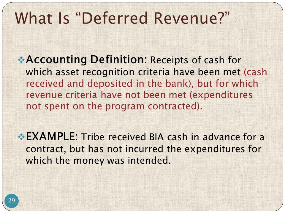 "What Is ""Deferred Revenue?"" 29  Accounting Definition: Receipts of cash for which asset recognition criteria have been met (cash received and deposit"