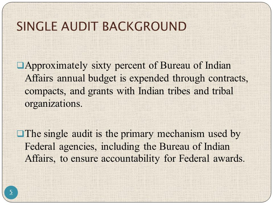 SINGLE AUDIT ACT OF 1984 6  The Single Audit Act of 1984 reduced the burden of numerous audits.