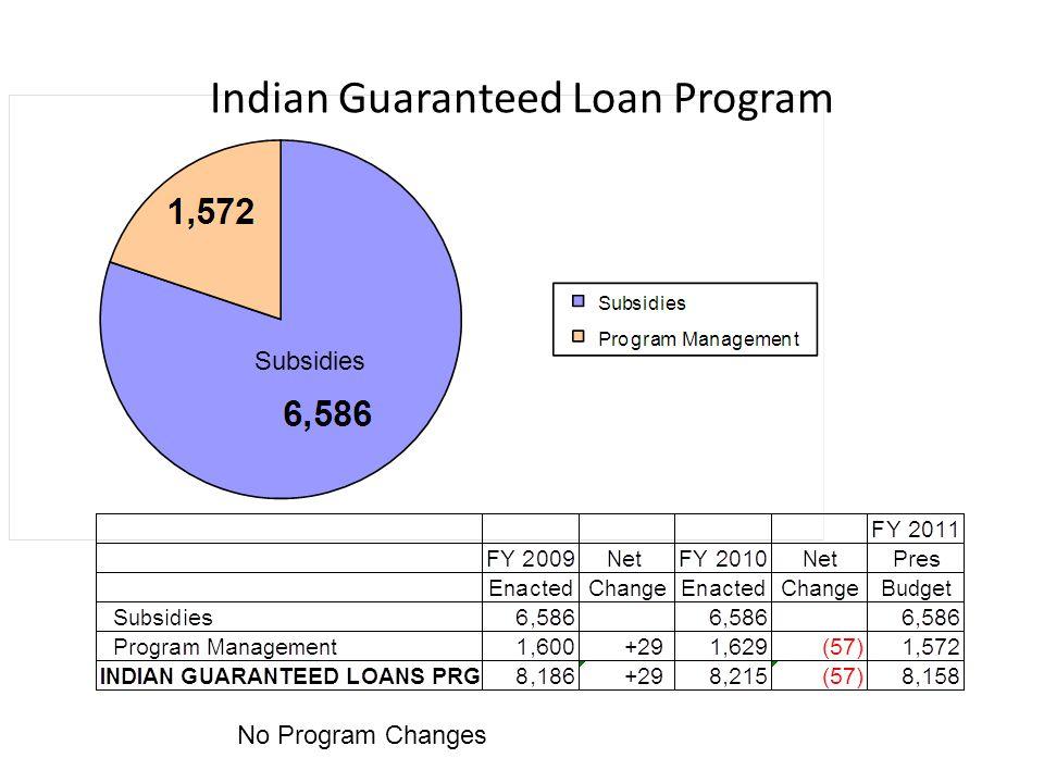 Indian Guaranteed Loan Program No Program Changes Subsidies