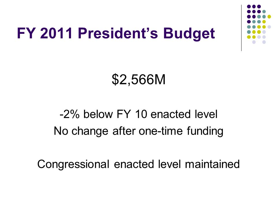 FY 2011 President's Budget $2,566M -2% below FY 10 enacted level No change after one-time funding Congressional enacted level maintained