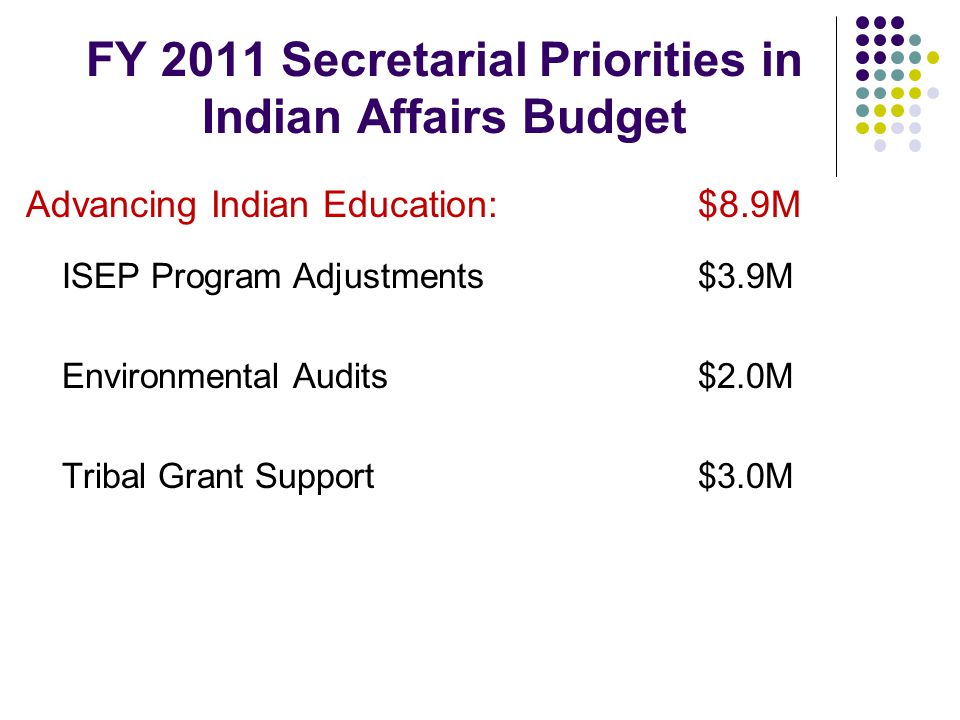 FY 2011 Secretarial Priorities in Indian Affairs Budget Advancing Indian Education:$8.9M ISEP Program Adjustments$3.9M Environmental Audits$2.0M Tribal Grant Support$3.0M