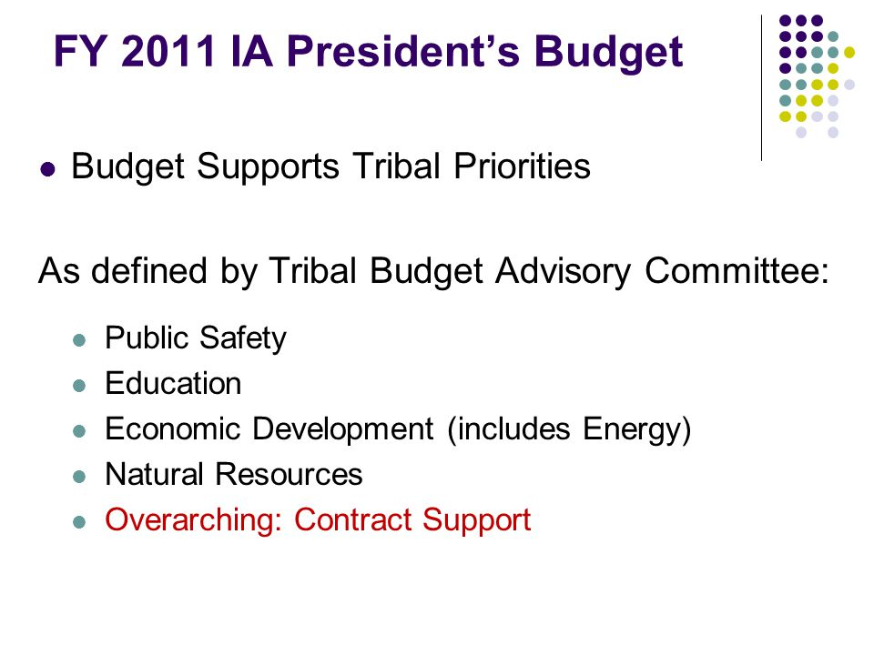 FY 2011 IA President's Budget Budget Supports Tribal Priorities As defined by Tribal Budget Advisory Committee: Public Safety Education Economic Development (includes Energy) Natural Resources Overarching: Contract Support