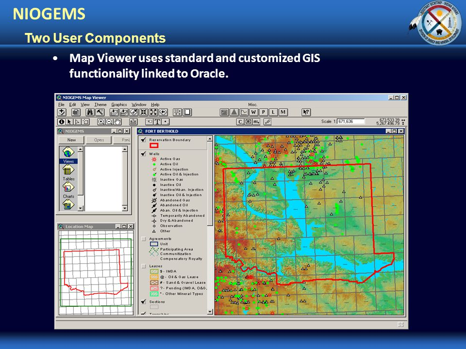 Two User Components Map Viewer uses standard and customized GIS functionality linked to Oracle.